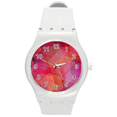 Abstract Background Texture Round Plastic Sport Watch (m)