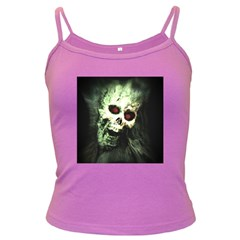 Screaming Skull Human Halloween Dark Spaghetti Tank by Wegoenart