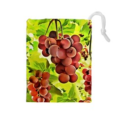 Grape Harvest Nature Figure Rustic Drawstring Pouch (large)