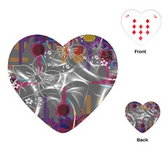 Flora Entwine Fractals Flowers Playing Cards (heart) by Wegoenart