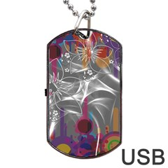 Flora Entwine Fractals Flowers Dog Tag Usb Flash (two Sides)