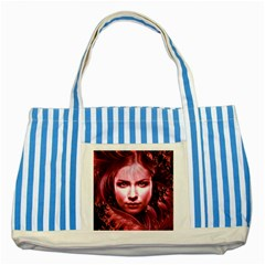 Portrait Woman Red Face Pretty Striped Blue Tote Bag by Wegoenart