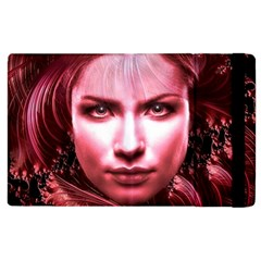 Portrait Woman Red Face Pretty Apple Ipad 2 Flip Case