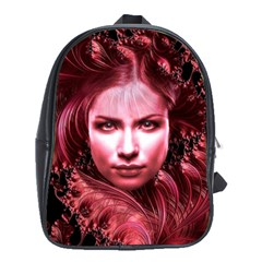 Portrait Woman Red Face Pretty School Bag (xl) by Wegoenart