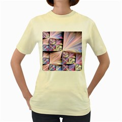 Fractal Art Artwork Digital Art Women s Yellow T Shirt