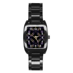 Seamless Background Abstract Vector Stainless Steel Barrel Watch