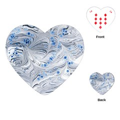 Marbled Paper Mottle Color Movement Blue White Playing Cards (heart)