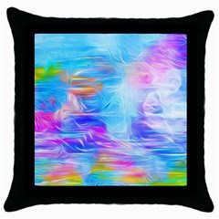 Background Drips Fluid Colorful Throw Pillow Case (black) by Wegoenart