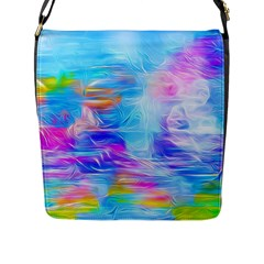 Background Drips Fluid Colorful Flap Closure Messenger Bag (l)