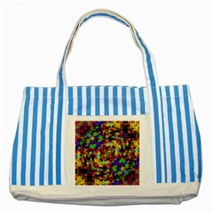 Color Mosaic Background Wall Striped Blue Tote Bag by Wegoenart