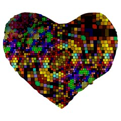 Color Mosaic Background Wall Large 19  Premium Heart Shape Cushions