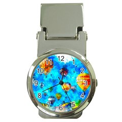 Hot Air Balloon Sky Art Watercolor Money Clip Watches