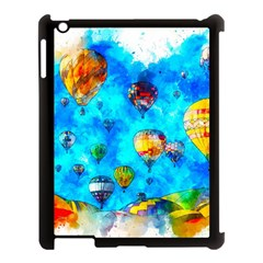 Hot Air Balloon Sky Art Watercolor Apple Ipad 3/4 Case (black) by Wegoenart
