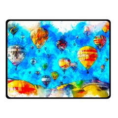 Hot Air Balloon Sky Art Watercolor Double Sided Fleece Blanket (small)