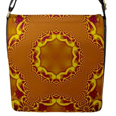 Abstract Fractal Pattern Washed Out Flap Closure Messenger Bag (s)
