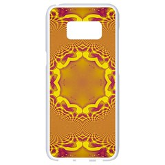 Abstract Fractal Pattern Washed Out Samsung Galaxy S8 White Seamless Case