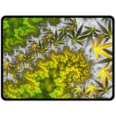Fractal Mobius Dragon Marijuana Fleece Blanket (large)  by Wegoenart