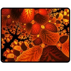 Leaf Autumn Nature Background Fleece Blanket (medium)  by Wegoenart