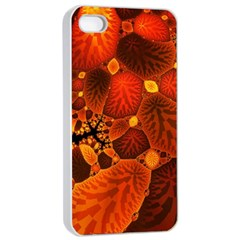 Leaf Autumn Nature Background Apple Iphone 4/4s Seamless Case (white)