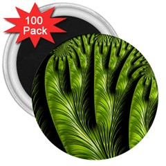 Fractal Background Abstract Green 3  Magnets (100 Pack)