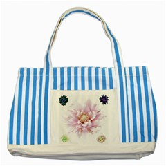 Abstract Transparent Image Flower Striped Blue Tote Bag