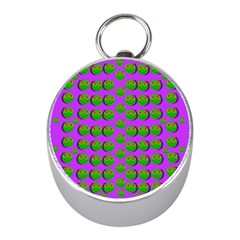 The Happy Eyes Of Freedom In Polka Dot Cartoon Pop Art Mini Silver Compasses