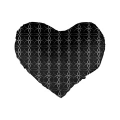 Circle Chic Grey Standard 16  Premium Heart Shape Cushions