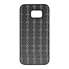 Circle Chic Grey Samsung Galaxy S7 Edge Black Seamless Case by FEMCreations