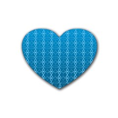 Circle Chic Blue Rubber Coaster (heart)