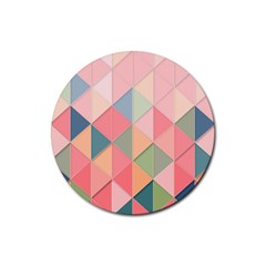 2 Triangles Make A Square Rubber Round Coaster (4 Pack)
