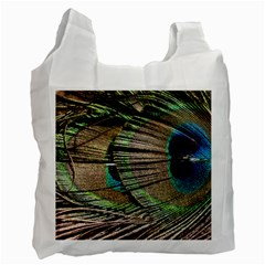 Peacock Feather Recycle Bag (one Side) by StarvinArtisan