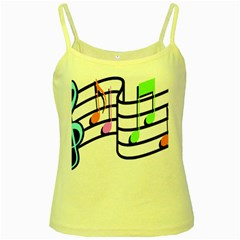 Music Notes Yellow Spaghetti Tank by StarvinArtisan