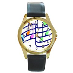 Music Notes Round Gold Metal Watch by StarvinArtisan