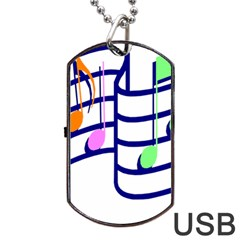 Music Notes Dog Tag Usb Flash (two Sides) by StarvinArtisan