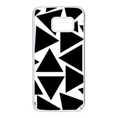 Black Triangles Samsung Galaxy S7 White Seamless Case by FEMCreations