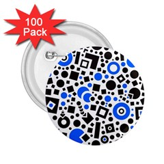 Black Versus Blue 2 25  Buttons (100 Pack)