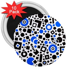 Black Versus Blue 3  Magnets (10 Pack)