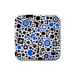 Black Versus Blue Rubber Coaster (square)  by FEMCreations