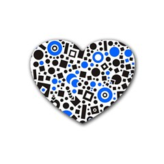 Black Versus Blue Heart Coaster (4 Pack)