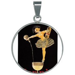 Lady Pouring Champagne  30mm Round Necklace