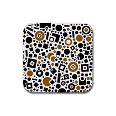 Black Versus Brown Rubber Coaster (square)  by FEMCreations