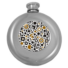 Black Versus Brown Round Hip Flask (5 Oz) by TimelessDesigns