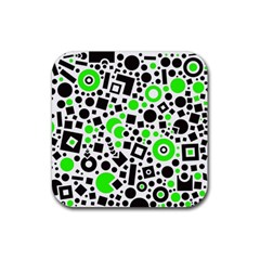 Black Versus Green Rubber Coaster (square)  by FEMCreations