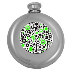 Black Versus Green Round Hip Flask (5 Oz) by TimelessDesigns