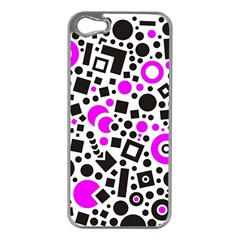 Black Versus Pink Apple Iphone 5 Case (silver) by TimelessDesigns