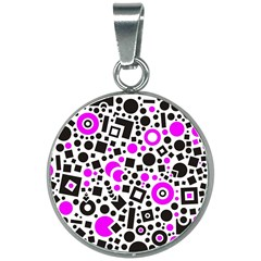Black Versus Pink 20mm Round Necklace by TimelessFashion