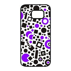 Black Versus Purple Samsung Galaxy S7 Edge Black Seamless Case by FEMCreations