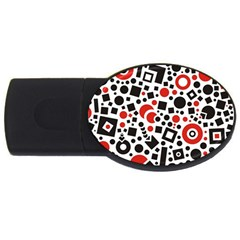 Black Versus Red Usb Flash Drive Oval (4 Gb)