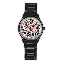 Black Versus Red Stainless Steel Round Watch