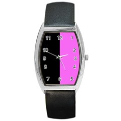 Black Pink Barrel Style Metal Watch by TimelessFashion